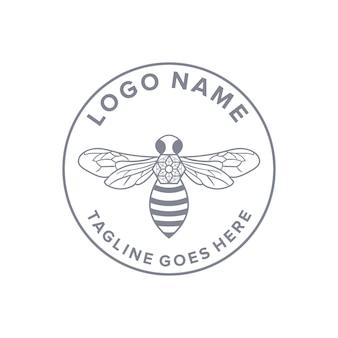Contorno ape cerchio emblema vintage logo retrò design