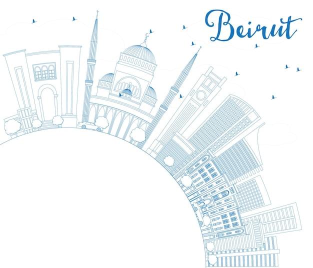Profilo dello skyline di beirut con edifici blu e spazio di copia. illustrazione di vettore. viaggi d'affari e concetto di turismo con architettura moderna. immagine per presentazione banner cartellone e sito web