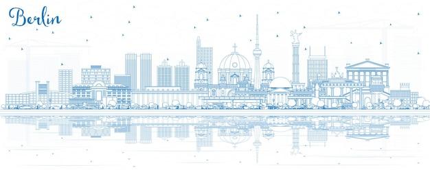 Orizzonte di contorno berlino germania città con edifici blu e riflessi. illustrazione di vettore. viaggi d'affari e concetto di turismo con architettura storica. paesaggio urbano di berlino con punti di riferimento.