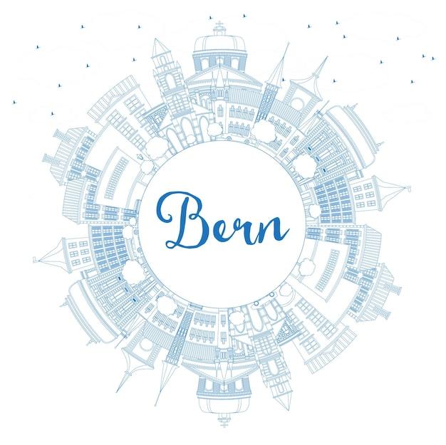 Profilo dello skyline della città di berna svizzera con edifici blu e spazio di copia. illustrazione di vettore. viaggi d'affari e concetto di turismo con architettura storica. paesaggio urbano di berna con punti di riferimento.