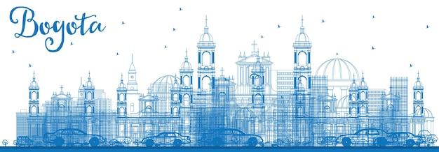 Profilo dello skyline di bogotà con edifici blu. illustrazione di vettore. viaggi d'affari e concetto di turismo con edifici storici. immagine per presentazione banner cartellone e sito web.