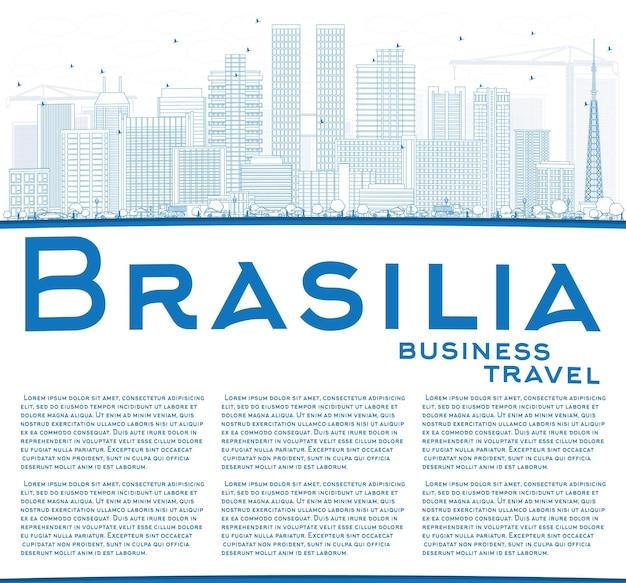 Profilo dello skyline di brasilia con edifici blu e spazio di copia. illustrazione di vettore. viaggi d'affari e concetto di turismo con architettura moderna. immagine per presentazione banner cartellone e sito web.