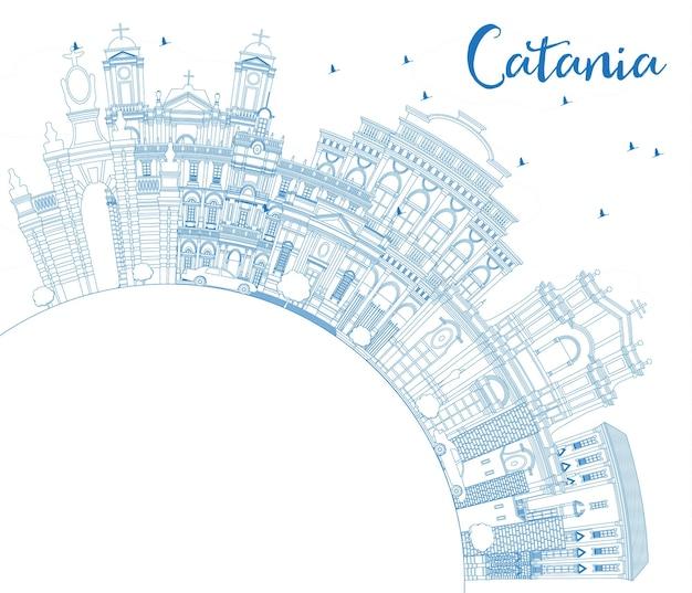 Orizzonte di contorno catania italia città con edifici blu e copia space