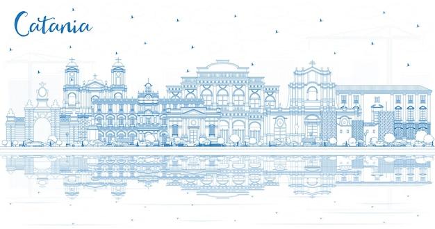 Orizzonte di contorno catania italia città con edifici blu e riflessi. illustrazione di vettore. viaggi d'affari e concetto di turismo con architettura storica. paesaggio urbano di catania sicilia con punti di riferimento.