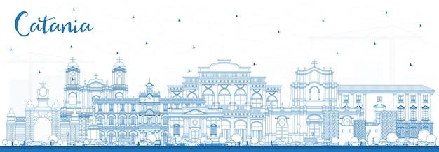 Orizzonte di contorno catania italia città con edifici blu