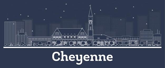 Outline cheyenne wyoming skyline della città con edifici bianchi