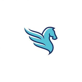 Logo pegasus di riempimento e colore