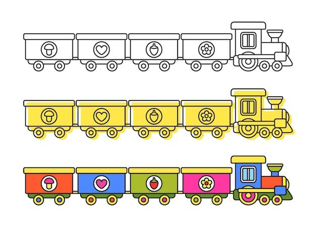 Contorno e trenino colorato per bambini libro da colorare illustrazioni vettoriali isolate