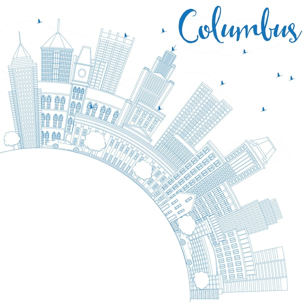 Profilo dello skyline di columbus con edifici blu e spazio di copia. illustrazione di vettore. viaggi d'affari e concetto di turismo con architettura moderna. immagine per presentazione banner cartellone e sito web.