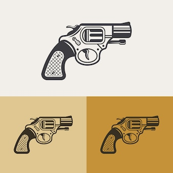 Elemento di design del contorno, icona della siluetta del revolver classico vintage, segno di arma