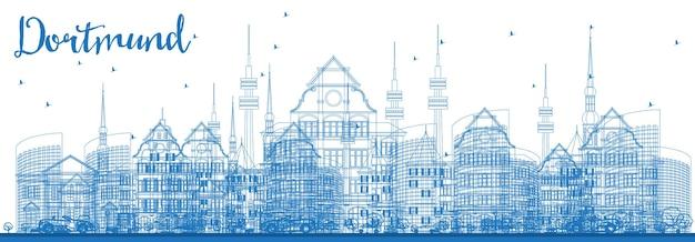 Orizzonte di contorno dortmund germania città con edifici blu. illustrazione di vettore. viaggi d'affari e concetto di turismo con architettura storica. paesaggio urbano di dortmund con punti di riferimento.