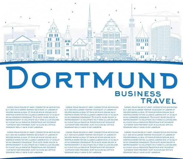 Profilo dello skyline di dortmund con edifici blu e spazio di copia. illustrazione di vettore. viaggi d'affari e concetto di turismo con architettura storica. immagine per presentazione banner cartellone e sito web.