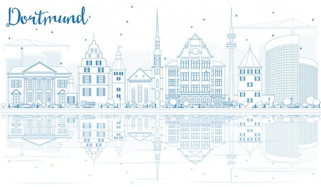 Profilo dello skyline di dortmund con edifici blu e riflessi. illustrazione di vettore. viaggi d'affari e concetto di turismo con architettura storica. immagine per presentazione banner cartellone e sito web.