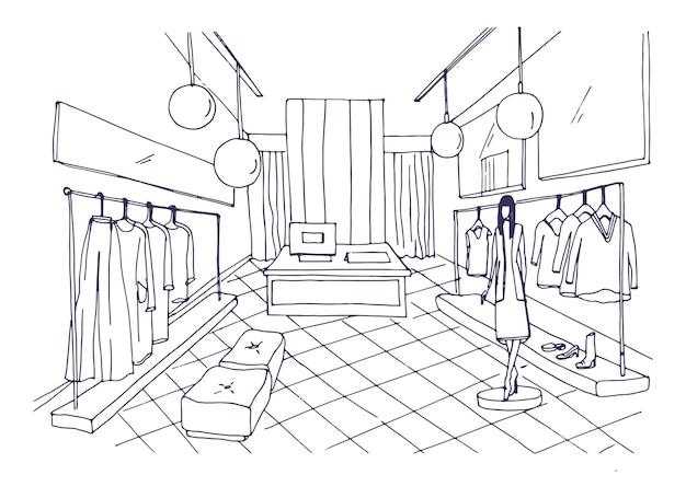 Disegno di assieme di interni boutique di abbigliamento con arredi, vestiti appesi su grucce, manichino vestito con abiti eleganti. negozio di moda disegnato a mano con linee di contorno. illustrazione vettoriale.