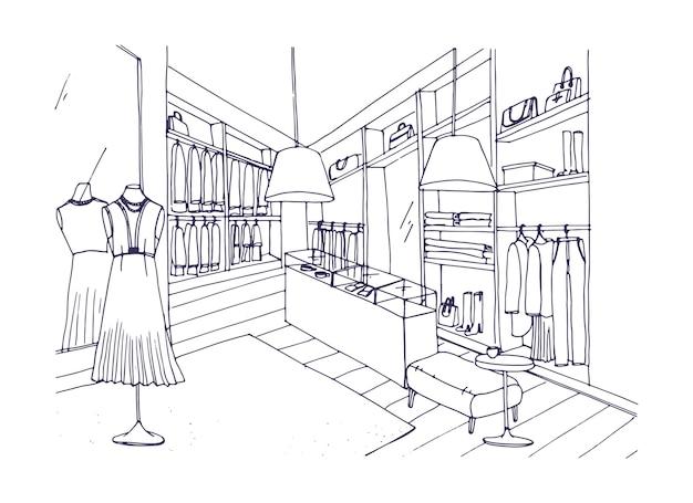 Schema di disegno dell'interno del negozio di abbigliamento alla moda con arredi, vetrine, manichini vestiti con abiti eleganti