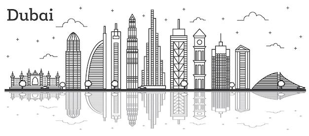 Profilo dello skyline della città di dubai emirati arabi uniti con edifici moderni e riflessi isolati su bianco. illustrazione di vettore. line art dubai cityscape con punti di riferimento.
