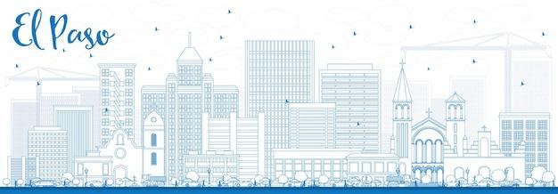 Profilo dello skyline di el paso con edifici blu. illustrazione di vettore. viaggi d'affari e concetto di turismo con architettura moderna. immagine per presentazione banner cartellone e sito web.