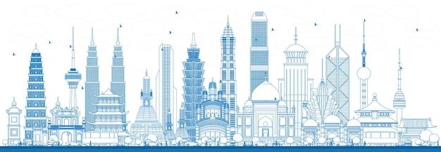 Delinea i famosi punti di riferimento in asia. illustrazione di vettore. viaggi d'affari e concetto di turismo. immagine per presentazione, banner, cartellone e sito web
