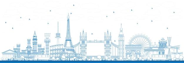 Delinea i monumenti famosi in europa. illustrazione di vettore. viaggi d'affari e concetto di turismo. immagine per presentazione, banner, cartellone e sito web