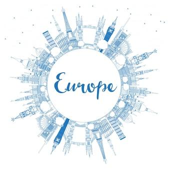Delinea i monumenti famosi in europa con l'illustrazione vettoriale dello spazio della copia