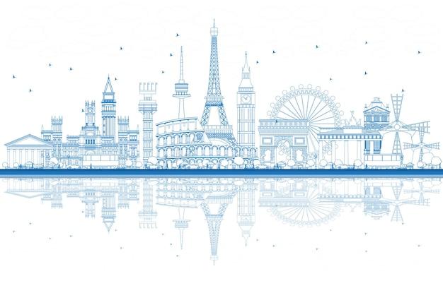 Delinea i monumenti famosi in europa con riflessioni. illustrazione di vettore. viaggi d'affari e concetto di turismo. immagine per presentazione, banner, cartellone e sito web