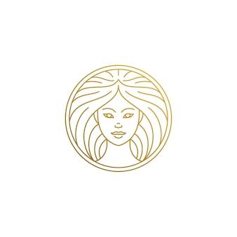 Delineare il logo del volto femminile nel cerchio disegnato a mano con linee sottili