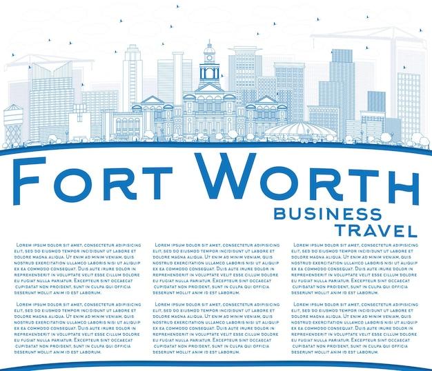 Delineare lo skyline di fort worth con edifici blu e spazio di copia. illustrazione di vettore. viaggi d'affari e concetto di turismo con architettura moderna. immagine per presentazione banner cartellone e sito web.