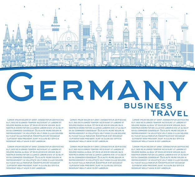 Delineare l'orizzonte della città di germania con edifici blu e spazio di copia. illustrazione di vettore. viaggi d'affari e concetto di turismo con architettura storica. paesaggio urbano della germania con i punti di riferimento.