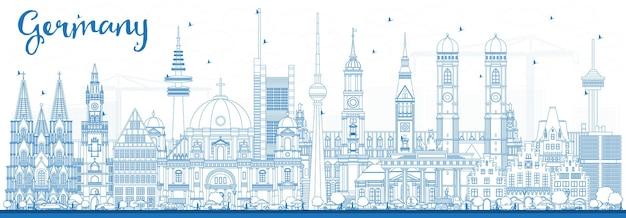 Orizzonte della città di contorno germania con edifici blu. illustrazione di vettore. viaggi d'affari e concetto di turismo con architettura storica. paesaggio urbano della germania con i punti di riferimento.