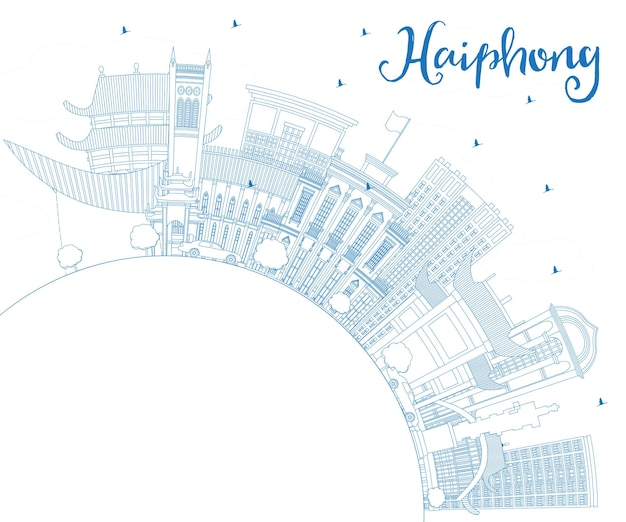 Profilo haiphong vietnam city skyline con edifici blu e copia space