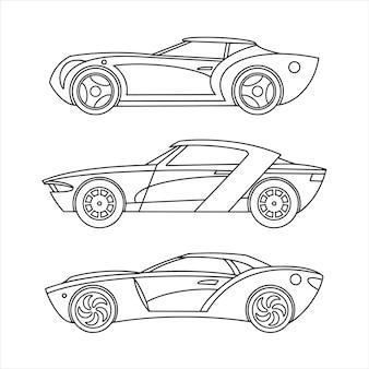 Emblema dell'icona di contorno. collezione di auto sportive.