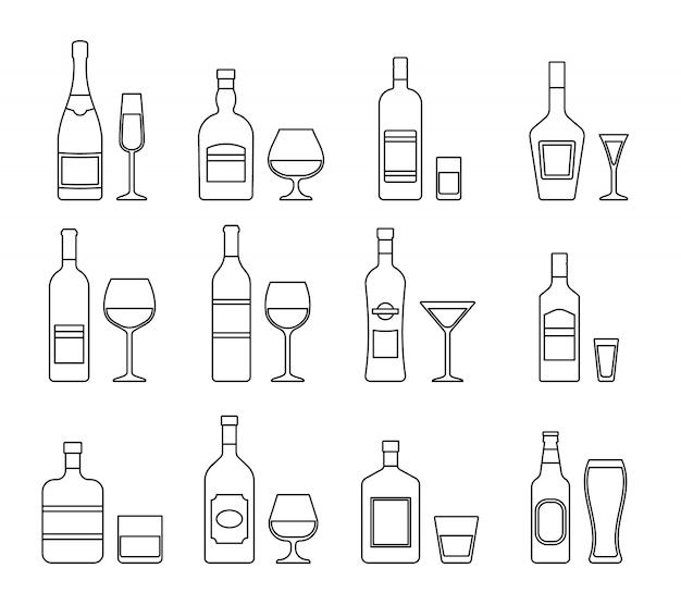 Icone di contorno di bottiglie di alcolici bevande e bicchieri. vettore