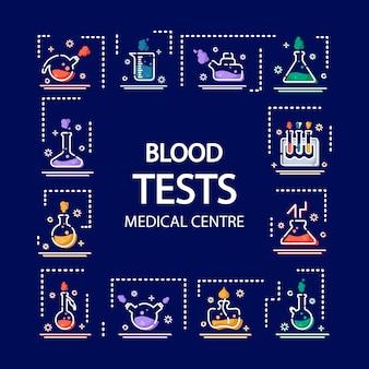 Icone di contorno in matraccio da laboratorio, misurino, provetta, per screening medico, esperimento scientifico