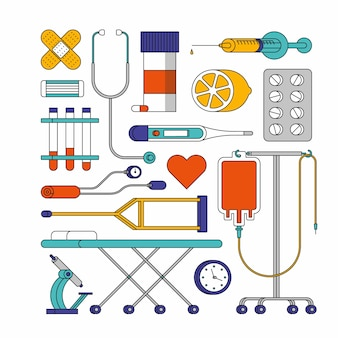 Illustrazione del profilo dell'ospedale. set di icone mediche, sfondo bianco