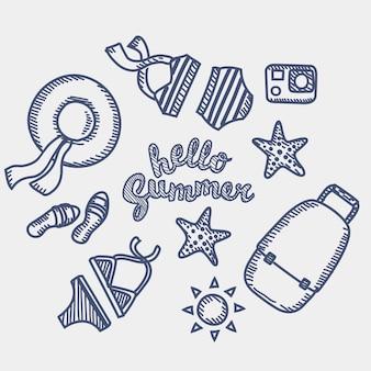 Illustrazione del profilo insieme di elementi di vacanza e spiaggia per disegnato a mano dalla penna
