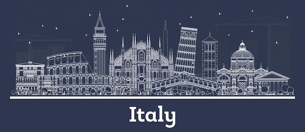 Orizzonte della città di contorno italia con edifici bianchi. illustrazione di vettore. viaggi d'affari e concetto con architettura storica. italia paesaggio urbano con punti di riferimento.