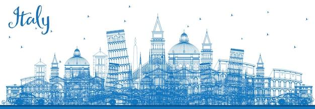 Profilo dell'orizzonte dell'italia con punti di riferimento blu. illustrazione di vettore. viaggi d'affari e concetto di turismo con architettura storica. immagine per presentazione banner cartellone e sito web.