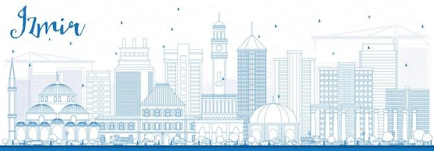 Profilo dello skyline di izmir con edifici blu. illustrazione di vettore. viaggi d'affari e concetto di turismo con architettura moderna. immagine per presentazione banner cartellone e sito web.