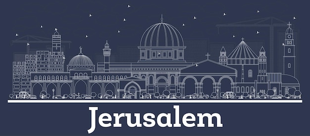 Delineare l'orizzonte della città di gerusalemme israele con edifici bianchi. illustrazione di vettore. viaggi d'affari e concetto con architettura storica. paesaggio urbano di gerusalemme con punti di riferimento.