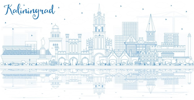 Profilo dello skyline della città di kaliningrad russia con edifici blu e riflessi. illustrazione di vettore. viaggi d'affari e concetto di turismo con architettura storica. paesaggio urbano di kaliningrad con punti di riferimento.