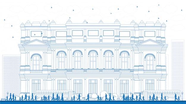 Contorni paesaggio con scuolabus, edificio scolastico e persone. illustrazione vettoriale concetto di educazione con parte della vita di città.