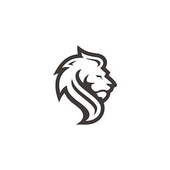 Delineare l'icona del logo della siluetta dei capelli del viso della testa di leone del leone con colore bianco e nero