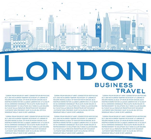 Profilo dello skyline di londra con edifici blu e spazio di copia. illustrazione di vettore.