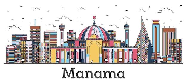 Profilo dell'orizzonte della città di manama bahrain con edifici di colore isolati