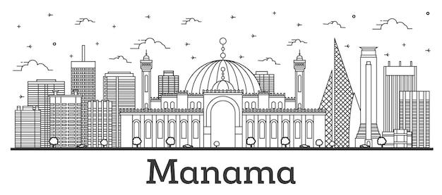 Profilo dello skyline della città di manama bahrain con edifici moderni isolati su bianco. illustrazione di vettore.