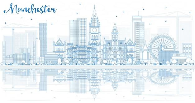 Profilo dello skyline di manchester con edifici blu e riflessi. illustrazione di vettore. viaggi d'affari e concetto di turismo con architettura moderna.