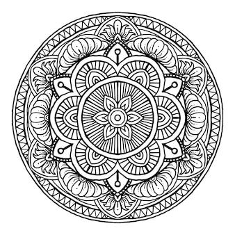 Ornamento rotondo decorativo mandala di contorno