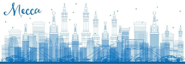 Profilo della mecca skyline con punti di riferimento blu. illustrazione di vettore. concetto di viaggio e turismo con edifici storici. immagine per presentazione banner cartellone e sito web.