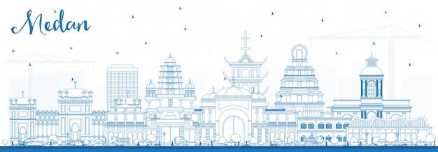 Profilo dello skyline della città di medan indonesia con edifici blu.