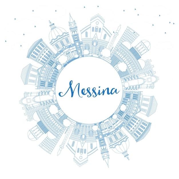 Profilo messina sicilia italia dello skyline della città con edifici blu e spazio di copia. illustrazione di vettore. viaggi d'affari e concetto con architettura moderna. paesaggio urbano di messina con punti di riferimento.